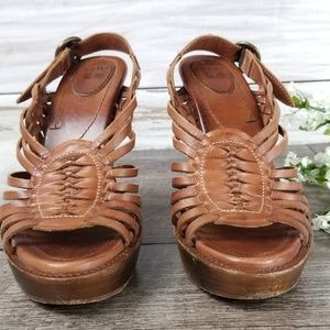 Frye Shoes - Frye Joy Huarache Heeled Sandals Brown Leather 9B